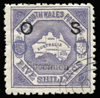 Lot 949 [1 of 2]:1890-91 'OS' Overprints: 5/- Map P10 (some nibbed perfs) & 20/- Centennial each with Type 11 'Specimen' overprints, both with 'GPO'-in concentric ovals CTO cancels, large-part gum. (Just 50 sets issued, McCredie's examples sold for $640 in the June 2011 sale of his collection). (2)