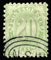 Lot 950 [1 of 2]:1891-97 ½d to 20/- set SG #D1-10, ½d mint, other values with 'NSW'-in concentric ovals CTO cancels, without gum. (10)