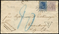 Lot 957 [3 of 10]:1848-1911 Cover Selection including 1848 Sydney pre-stamp to England, Manchester backstamp, 1866 mourning cover to NZ with 6d Diadem, Hunters Hill departure and Auckland arrival backstamps, 1886 to USA with DLR 2d strip of 3 & 1d tied by Bars '285' cancels, Milton datestamp alongside, New York backstamps; 1888 to Germany with DLR 2d & 6d tied by Rays '231', Coonamble departure & Riesenburg arrival backstamps, 1887 registered to UK with 2d DLR & 8d Diadem, Sydney Registered Letter Office datestamp, Carisbrook, Isle of Wight arrival backstamp, plus six other items; condition variable. (11)