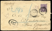 Lot 961 [1 of 2]:1903 (Dec) registered cover to Prince Edward Island, Canada with 10d violet (prob SG #323) solo franking tied by smudged 'REGISTERED/SYDNEY' datestamp, Charlotte Town (P.E.I.) arrival backstamp.