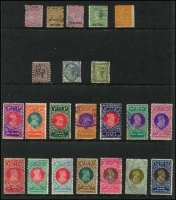 Lot 951 [3 of 3]:1867-1914 Selection: with QV 1866-1903 Long Types to 10/- x2 & £1 x2 including 7/- x2 & 9/-; 1880 Surcharge Trio, KEVII Bicolours to £1; condition variable but generally above-average for these. (56)