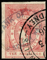 Lot 952 [2 of 2]:Stamp Duty: 1865 Large Format imperf 8/- green & 10/- dull red, variable margins, both with Bank of New South Wales 'MAR 3/1866' cancels, Elsmore Online Cat $200. (2)
