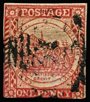 Lot 852:1850 1d Sydney Views With Clouds Laid Paper 1d carmine SG #13, margins just touched/shaved at base and at left, indistinct numeral cancel, Cat £700.