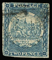 Lot 927:1850 2d Sydney Views Plate II Early Impressions 2d grey-blue SG #23, rounded lower-left corner, upper margin shaved, lightly cancelled, Cat £300.