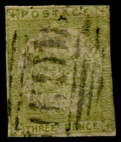 Lot 855:1850 3d Sydney Views Soft Yellowish Wove Paper yellowish-green shade SG #39, close margins shaving frameline at top & at left, bars cancel of Sydney, Cat £325.