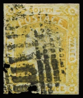 Lot 784:1853 Imperf 8d Laureates No Wmk Medium Bluish Paper 8d dull yellow SG #79, margins largely complete (just touching at base), good colour, bars cancel of Sydney, Cat £600.
