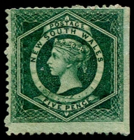 Lot 937:1860-72 Diadems Wmk Double-Lined Numeral Perf 12 5d dull green SG #141, straight edge at right, unused, Cat £425.