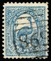 Lot 759:1895 2d Emu lithographed Postal Forgery on No Watermark Perf 11 paper, cancelled by BN '698' of George Street West (Sydney), Cat £450 (see SG footnote). The finest example we have seen. RPSV Certificate (2013).