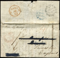 "Lot 1609:1847 (Nov 3) entire letter, written at Nelson, to England endorsed ""via Sydney"" with largely fine strike of 'PAID/AT/WELLINGTON NEW ZEALAND' crowned-circle handstamp in red SG #CC8 (Cat £350 on cover) and very fine 'WELLINGTON/NOV3/1847/A/NEW ZEALAND' backstamp in black, rated ""4"" in red & ""1/-"" in black, London transit backstamp and fine Burnley double-arc arrival backstamp in blue. [Letter was probably sent privately from Nelson to Wellington to either avoid the 4d internal mail fee or to catch an earlier ship departure from Wellington. At some point the letter has been tidied up by removing excess ""white paper"", making the entire thinner and easier to display.]"