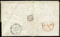 "Lot 1410 [2 of 2]:1847 (Oct 15) entire letter to Glasgow with fair strike of 'PAID/AT/WELLINGTON NEW ZEALAND' crowned-circle handstamp in red SG #CC8 (Cat £350 on cover) and very fine 'WELLINGTON/OC15/1847/A/NEW-ZEALAND' backstamp in black, rated ""4"" in red & ""8"" in black (private ship letter rate), London transit & part boxed Glasgow arrival backstamp."