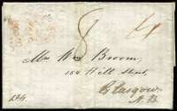 "Lot 1453:1847 (Oct 15) entire letter to Glasgow with fair strike of 'PAID/AT/WELLINGTON NEW ZEALAND' crowned-circle handstamp in red SG #CC8 (Cat £350 on cover) and very fine 'WELLINGTON/OC15/1847/A/NEW-ZEALAND' backstamp in black, rated ""4"" in red & ""8"" in black (private ship letter rate), London transit & part boxed Glasgow arrival backstamp."