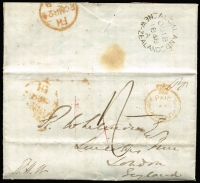 "Lot 1451:1848 (Oct 18) entire letter to London with fine strike of 'PAID/AT/AUCKLAND NEW ZEALAND' crowned-circle handstamp in red SG #CC1 (Cat £300 on cover) and very fine 'AUCKLAND/A/OC18/1848/A/NEW ZEALAND' backstamp in black, rated ""4"" in red & ""1/-"" in black, London '20MAR20/[1849]"