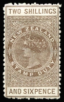 Lot 1626:1895-1901 Wmk 12b Long Types Perf 11 2/6d grey-brown SG #F57, hinge remnant, large-part og, Cat £180.