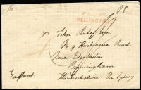 "Lot 1688 [1 of 2]:1846 (Dec 9) cover to England with largely fine strike of boxed 'PAID AT/WELLINGTON' handstamp in red, fair 'WELLINGTON/[crown]/DE9/1846/NEW ZEALAND' backstamp, rated ""4"" & ""1/-"", very fine Birmingham 'MY17/1847' arrival backstamp in blue. Unusually fine."