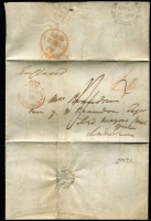 "Lot 1397 [1 of 2]:1848 (Apr 4) entire letter to London with fine strike of 'PAID/AT/WELLINGTON NEW ZEALAND' crowned-circle handstamp in red SG #CC8 (Cat £350 on cover) and very fine 'WELLINGTON/AP4/1848/A/NEW-ZEALAND' backstamp in black, rated ""4"" in red & ""1/-"" in black, London '21SP21/1848' arrival backstamp, ironed-out vertical fold."