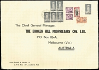 Lot 1628 [2 of 3]:1946-47 Russell & Somers (Auckland) oversized printed covers (360x250mm) sent airmail to BHP (Melbourne), multi-franked at 5/-, 6/8d or 7/6d rates. Attractive trio. (3)