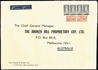 Lot 1628 [3 of 3]:1946-47 Russell & Somers (Auckland) oversized printed covers (360x250mm) sent airmail to BHP (Melbourne), multi-franked at 5/-, 6/8d or 7/6d rates. Attractive trio. (3)