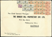 Lot 1628 [1 of 3]:1946-47 Russell & Somers (Auckland) oversized printed covers (360x250mm) sent airmail to BHP (Melbourne), multi-franked at 5/-, 6/8d or 7/6d rates. Attractive trio. (3)