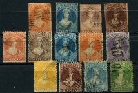 Lot 1585 [2 of 2]:1857-73 Imperf and Perforated with imperf 1d orange, 2d blue, 3d brown-lilac, 6d red-brown, negligible/variable margins except 1/- which has complete margins; also perforated Wmk Large Star Chalons to 1/- including 3d lilac (straight edge) & 4d yellow; mostly fine. (14)
