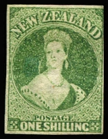 Lot 1461:1864 Wmk 'NZ' imperforate 1/- green SG #100 (CP #A6h), margins largely complete (upper right frameline just shaved), horizontal crease, strong colour, expertised in pencil, unused, Cat £2,000.