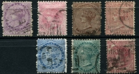 Lot 1375 [2 of 2]:1874-78 Sidefaces 1d to 5/- set, 3d & 4d mild stains on reverse, good to fine used overall, Cat £650+. (8)