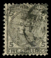 Lot 1375 [1 of 2]:1874-78 Sidefaces 1d to 5/- set, 3d & 4d mild stains on reverse, good to fine used overall, Cat £650+. (8)