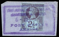 Lot 1476:1895-99 Issues Used in Akassa 2½d purple/blue on piece tied by complete strike of 'THE ROYAL NIGER COMPANY/CHARTERED & LIMITED/POST OFFICE/AKASSA' double-framed datestamp in violet, SG #Z20, Cat £70.