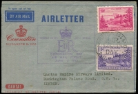 Lot 1206 [2 of 8]:1940s-50s Ball Bay Frankings including 5½d solo frankings on airmail covers to Australia (toning) or NZ, 5½d airmail to NZ with ½d, 1d, 1½d & 2½d, David Jones airmail front to Sydney with 4d & 6d, 1957 airmail to NZ with 6d & 2d, also 1953 Qantas Coronation Airletter with 9d & 1d; condition variable. (6)
