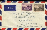 Lot 1206 [1 of 8]:1940s-50s Ball Bay Frankings including 5½d solo frankings on airmail covers to Australia (toning) or NZ, 5½d airmail to NZ with ½d, 1d, 1½d & 2½d, David Jones airmail front to Sydney with 4d & 6d, 1957 airmail to NZ with 6d & 2d, also 1953 Qantas Coronation Airletter with 9d & 1d; condition variable. (6)