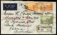 Lot 1207 [1 of 2]:1952 (Sep 8) registered commercial cover to South Ballarat (Vic) with ½d, 3d & 1/- Ball Bay tied by 'NORFOLK ISLAND/AUST' datestamp, blue/white registration label (with 'NEW SOUTH WALES' scored-through), Ballarat RS arrival backstamp.