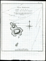 Lot 1351 [1 of 3]:1774 Maps of Norfolk Island three examples from different publications; also two Pitcairns lithographs (spotting) one showing John Adams mutineer & Pitcairn settler, the other showing a coastal scene. (5 items)