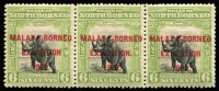 Lot 1481:1922 Malaya-Borneo Exhibition 6c apple-green strip of 3, centre unit variety Stop after 'EXHIBITION.' SG #260a, fine mint, Cat £85+.