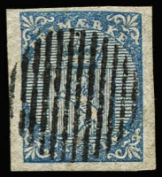 Lot 1488:1855 4sk blue SG #1, four good to large margins, gridiron cancel, Cat £180.
