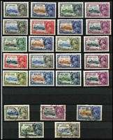 Lot 86 [2 of 2]:British Commonwealth: 1935 Silver Jubilee generic design sets mint x14 including Caymans, Falklands, Gibraltar, Gilbert & Ellice & KUT, plus a few used oddments. Generally fine. (61)