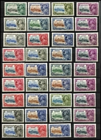 Lot 86 [1 of 2]:British Commonwealth: 1935 Silver Jubilee generic design sets mint x14 including Caymans, Falklands, Gibraltar, Gilbert & Ellice & KUT, plus a few used oddments. Generally fine. (61)