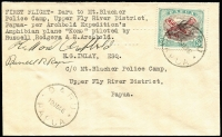 Lot 1252:1936 Daru to Mt Blucher Police Camp type-written endorsement, signed by pilots Archbold & Rogers, reverse with O.I.C. signature, AAMC #P104, Cat $200.