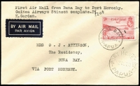 Lot 1253:1938 Buna Bay to Port Moresby flown by pilot K. Garden, originally flying from Salamaua, a forced landing enabled a small mail to be uplifted, AAMC #P139, fine, Cat $325.