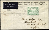 Lot 1153:1940 Goilala Police Camp to Port Moresby flown by Guinea Airways, signed by pilot Tommy O'Dea AAMC #P150, fine condition, Cat $400.