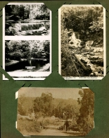 Lot 137 [1 of 3]:Victoria Selection: mostly Healesville scenes including RP types of Myer's Creek Falls (Rose series) and a Coronderrek Weir/Donnelly's Creek Weir twin image card; also modern copy of a photograph showing view of Seville. (8)