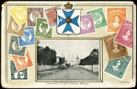 Lot 974 [2 of 14]:Zieher/VSM Stamps of Queensland PPCs, mostly embossed, all but three with black & white photo vignettes with 'Maryborough' & 'Warwick' street scenes, also Brisbane scenes including 'Observatory, Wickham Terrace' & 'Enoggera Creek'; two have Japanese or Czechoslovakian stamps added, otherwise unused. Condition variable. (12)
