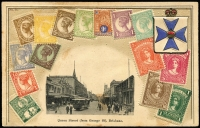 Lot 974 [3 of 14]:Zieher/VSM Stamps of Queensland PPCs, mostly embossed, all but three with black & white photo vignettes with 'Maryborough' & 'Warwick' street scenes, also Brisbane scenes including 'Observatory, Wickham Terrace' & 'Enoggera Creek'; two have Japanese or Czechoslovakian stamps added, otherwise unused. Condition variable. (12)