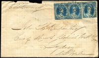"Lot 1126 [1 of 2]:1862 (May 11) cover from Rockhampton to Sydney endorsed ""p SS Boomerang"" franked with 2d blue Chalon Rough Perf 14-16 x3 (scissor-cut from sheet) tied by Rays '201' cancels, small part of Sydney backstamp as the backflap is partially missing. RPSV Certificate (2016) states ""...correctly rated, and the stamps belong.""."