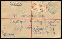 Lot 776 [2 of 2]:1909 3d KEVII McCorquodale 1911 (Nov 9) use from Brisbane to Germany, uprated with 4-Corners 2½d purple/blue Sideface, Brisbane red & black registration label, Hamburg arrival backstamp.