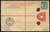 Lot 1125 [1 of 2]:1909 3d KEVII McCorquodale 1911 (Nov 9) use from Brisbane to Germany, uprated with 4-Corners 2½d purple/blue Sideface, Brisbane red & black registration label, Hamburg arrival backstamp.
