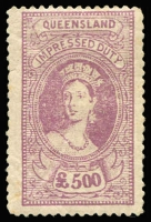 Lot 985 [1 of 3]:Impressed Duty: 1895 3d to £500 set of 63 values with colourless embossed cancels, few values with perf faults or minor tones, otherwise generally above-average condition with full gum, Elsmore Online Cat $750.