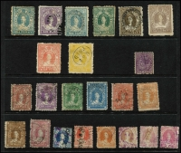 Lot 984 [2 of 3]:Stamp Duty Selection: with 1868 perforated to 2/- x2 (one with fake Rockhampton datestamp), 2/6d, 5/- & 20/-; 1871-74 to burelé Band 20/-; 1892 Long Types to £5 with colourless embossed cancels, most penetrating paper and paper hinge reinforced; also high value Small Chalons with fiscal cancels. (34)