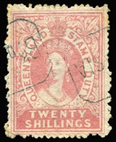 Lot 984 [1 of 3]:Stamp Duty Selection: with 1868 perforated to 2/- x2 (one with fake Rockhampton datestamp), 2/6d, 5/- & 20/-; 1871-74 to burelé Band 20/-; 1892 Long Types to £5 with colourless embossed cancels, most penetrating paper and paper hinge reinforced; also high value Small Chalons with fiscal cancels. (34)