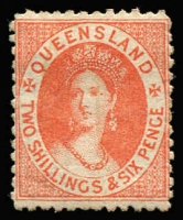 Lot 857:1880 Small Chalon Litho Wmk 2nd Crown/Q Perf 12 2/6d dull scarlet SG #121, fine mint, Cat £325.