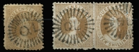 Lot 978 [2 of 2]:1880 Small Chalon Litho Wmk 2nd Crown/Q Perf 12 10/- red-brown, 10/- bistre-brown pair & 20/- rose SG #125-27, all with dubious postal cancels, Cat £850 for genuine postal usage. (4)