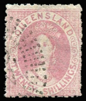 Lot 978 [1 of 2]:1880 Small Chalon Litho Wmk 2nd Crown/Q Perf 12 10/- red-brown, 10/- bistre-brown pair & 20/- rose SG #125-27, all with dubious postal cancels, Cat £850 for genuine postal usage. (4)